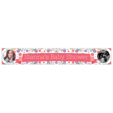 Baby Shower Flowers Banner <br/> with spaces for 2 photos and a name or message - Hello Party - All you need to make your party perfect!