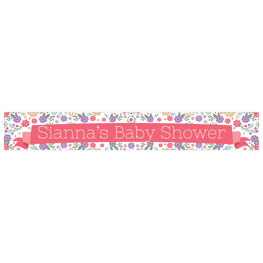 Baby Shower Flowers Banner <br/> with a space for a name or message - Hello Party - All you need to make your party perfect!