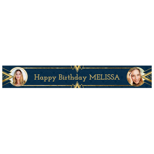 Art Deco Banner <br/> with spaces for 2 photos and a name or message  Personalisable Banner Hello Party - All you need to make your party perfect! - Hello Party