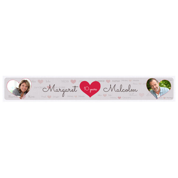 Happy Couple Banner <br/> with spaces for 2 photos and a name or message