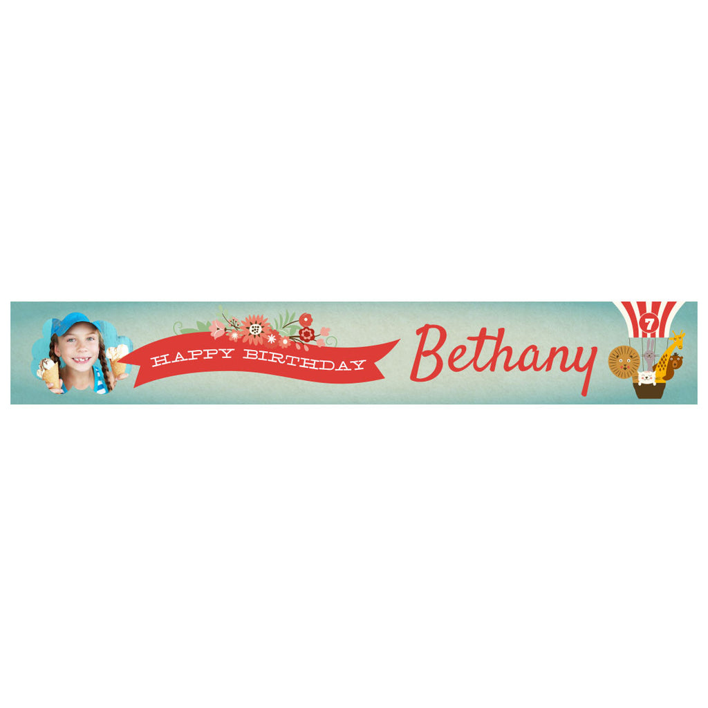 Animal Balloon Trip Party Banner <br/> with a space for 1 photo and a name or message - Hello Party - All you need to make your party perfect!