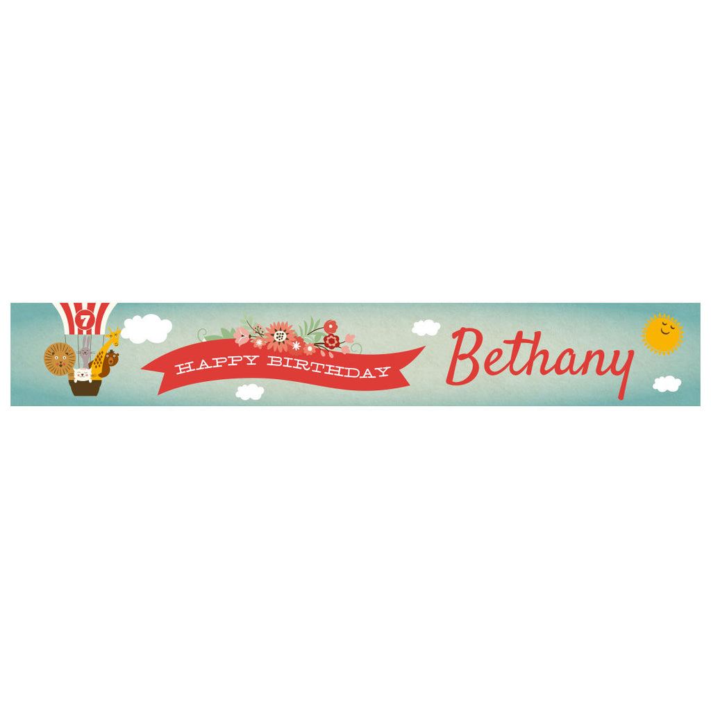 Animal Balloon Trip Party Banner <br/> with a space for a name or message - Hello Party - All you need to make your party perfect!