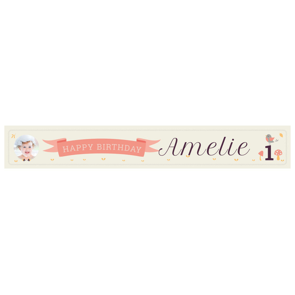 1st Birthday Forest Banner <br/> with a space for 1 photo and a name or message