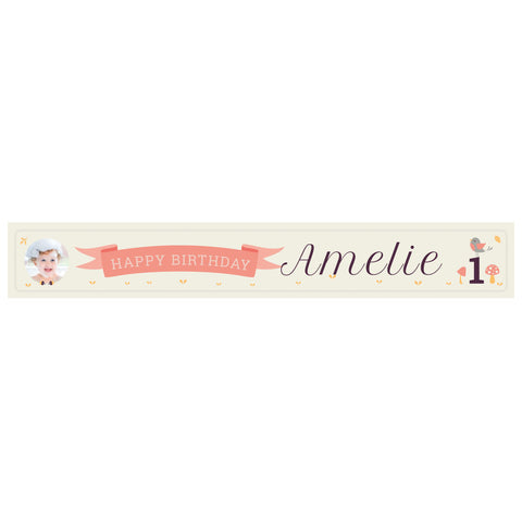 1st Birthday Forest Banner <br/> with a space for 1 photo and a name or message - Hello Party - All you need to make your party perfect!