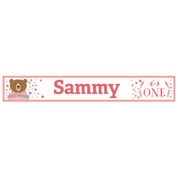 Bears & Flowers Banner <br/> with a space for a name or message  Personalisable Banner Hello Party - All you need to make your party perfect! - Hello Party