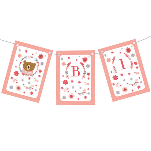 Bears & Flowers Bunting  Personalisable Bunting Hello Party - All you need to make your party perfect!  - Hello Party