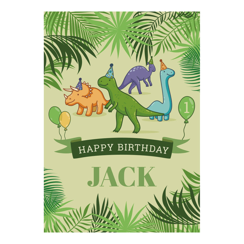 Birthday Dinosaurs Poster <br/> with a space for your name or message  Personalisable Poster Hello Party - All you need to make your party perfect! - Hello Party