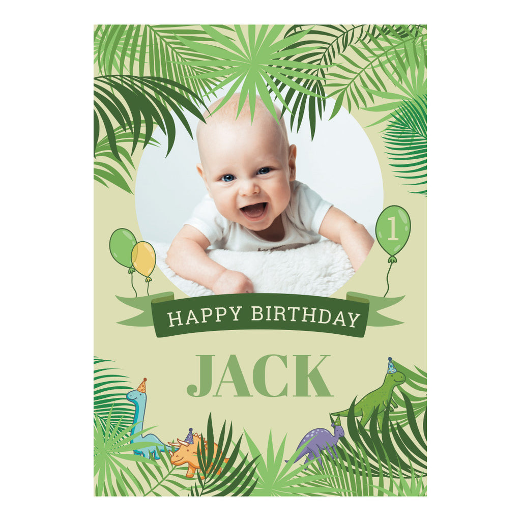 Birthday Dinosaurs Banner <br/> with a space for 1 photo and your name or message - Hello Party - All you need to make your party perfect!