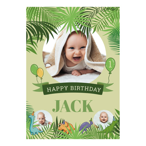 Birthday Dinosaurs Banner <br/> with spaces for 3 photos and your name or message - Hello Party - All you need to make your party perfect!
