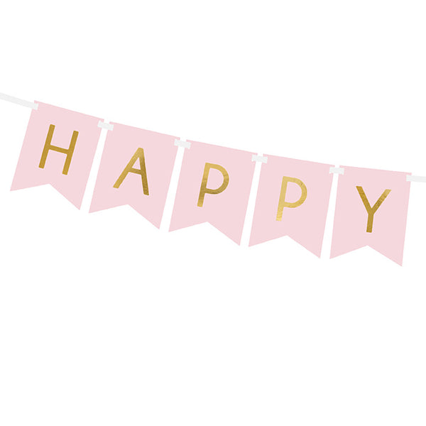 Pink Happy Birthday Flag Banner
