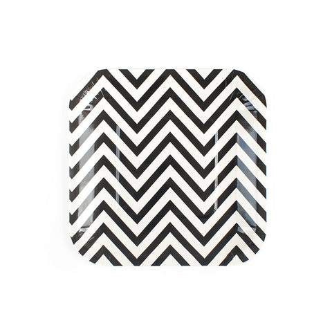 Black Chevron Square Paper Plates  Party Plates Hello Party Essentials - Hello Party