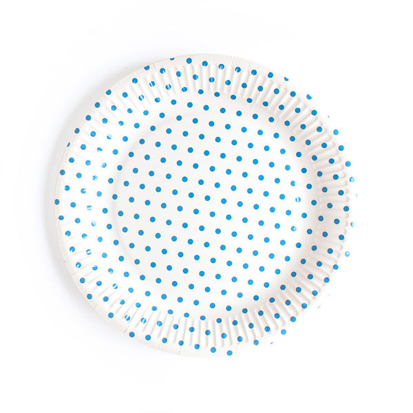 Blue Dotty Paper Plates  Party Plates Neviti - Hello Party