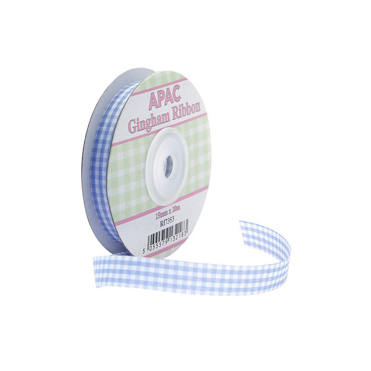 Pastel Blue Gingham Ribbon 20m