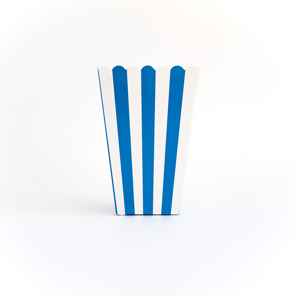 Blue striped popcorn box
