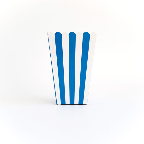 Blue striped popcorn box  Popcorn Box HelloPartyUK - Hello Party