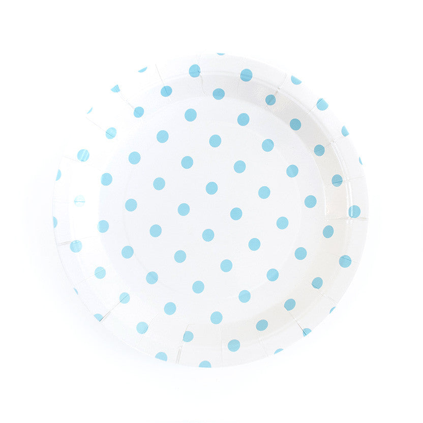 Pastel Blue Spotty Round Paper Plates