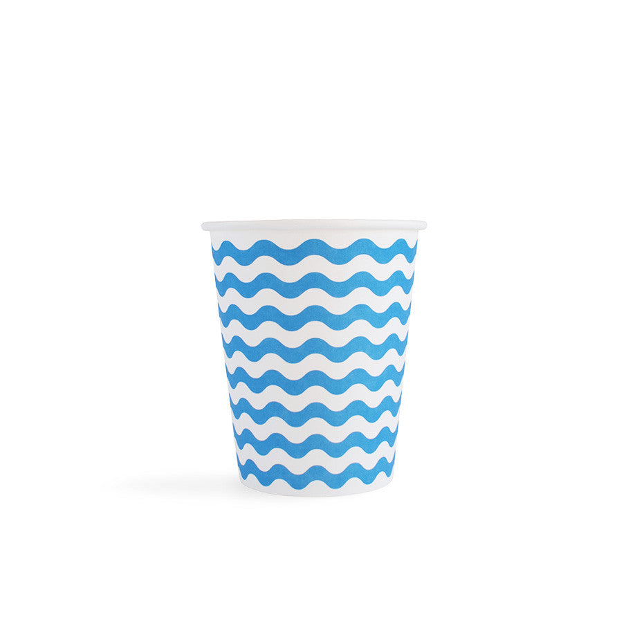 Carnival - Paper Cups - Waves Blue - 8 - Hello Party - All you need to make your party perfect!