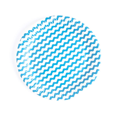 Blue Wavy Paper Plates  Party Plates Neviti - Hello Party
