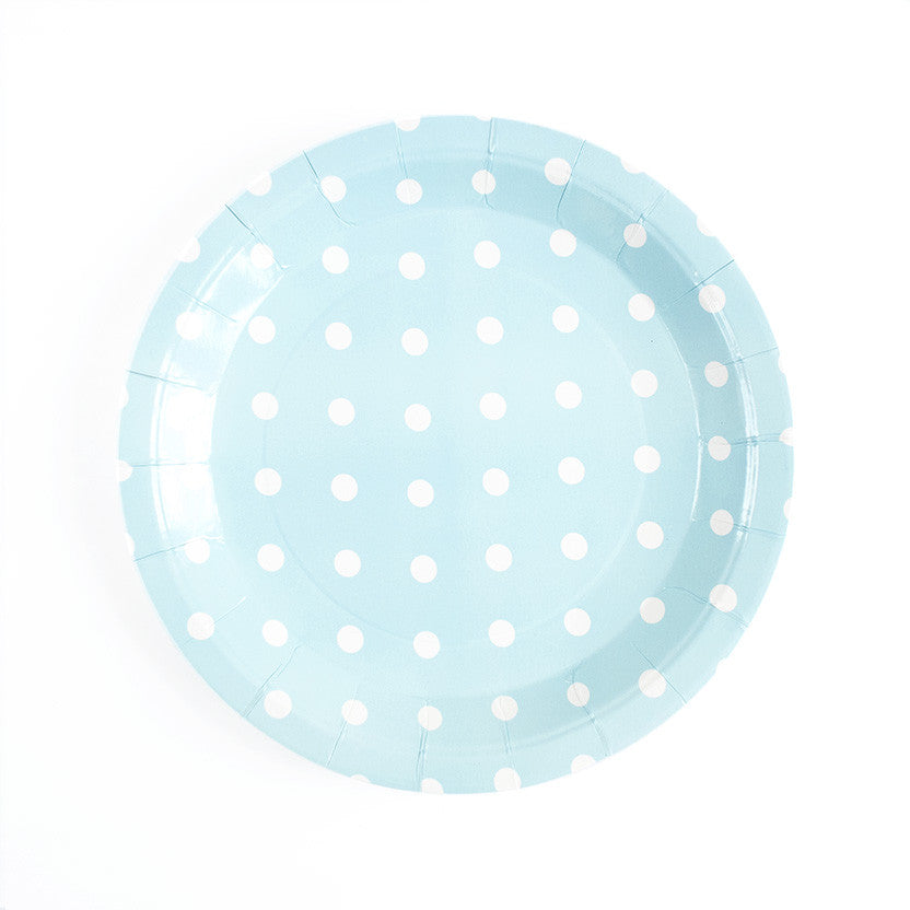 Pastel Blue with white dots Round Paper Plates