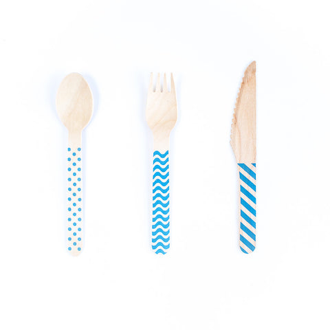 Wooden Cutlery Set - Blue