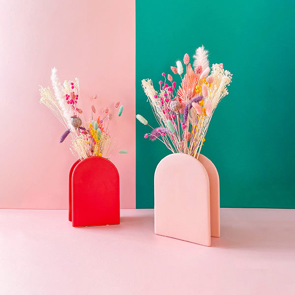 A Happy Bunch - Sherbet Rainbow Dried Flowers | Baked Blooms  in matt nordic style vases