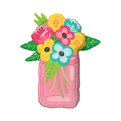 "Giant Mason Jar of Flowers Foil Balloon (36"")  Balloons qualatex - Hello Party"