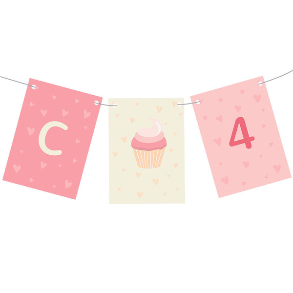 Cute Cupcake Bunting  Personalisable Bunting Hello Party - All you need to make your party perfect! - Hello Party