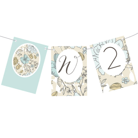 Wedding Wallpaper : Blue & Gold Bunting