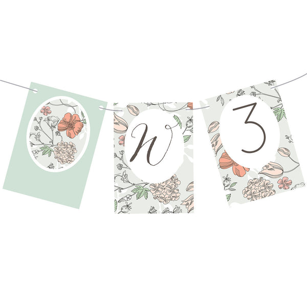 Wedding Wallpaper : Mint & Coral Bunting