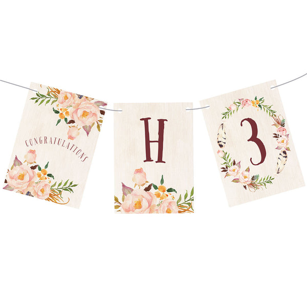 Feathers & Wedding Roses Bunting  Personalisable Bunting Hello Party - All you need to make your party perfect!  - Hello Party