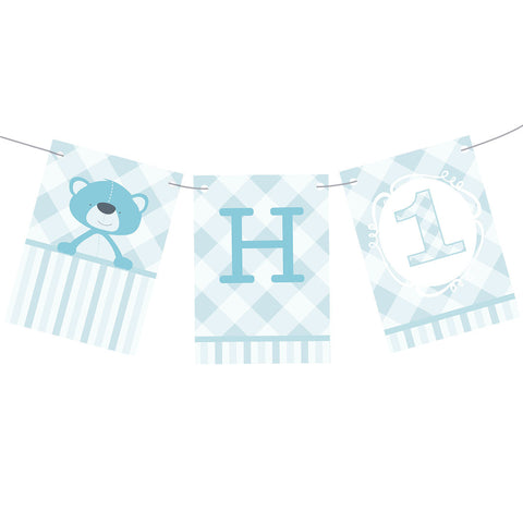 1st Birthday Bear : Blue Bunting  Personalisable Bunting Hello Party - All you need to make your party perfect! - Hello Party