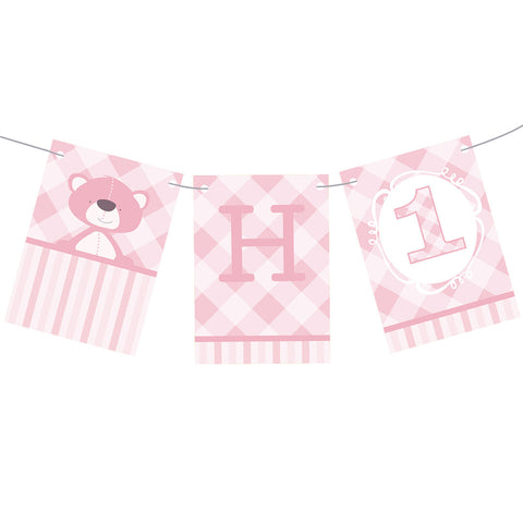 1st Birthday Bear : Pink Bunting