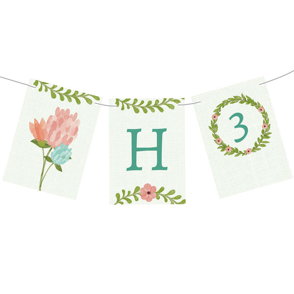 Dreamy Blooms Bunting  Personalisable Bunting Hello Party - All you need to make your party perfect!  - Hello Party