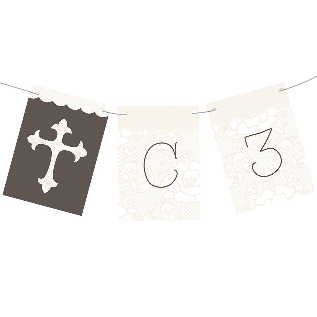 Lovely Lace Christening Bunting