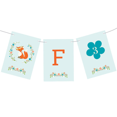 The Flowers & the Fox Bunting with a space for your message