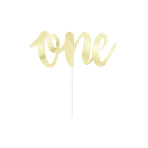 Gold One Script Cake Topper  Cake Toppers Unique - Hello Party