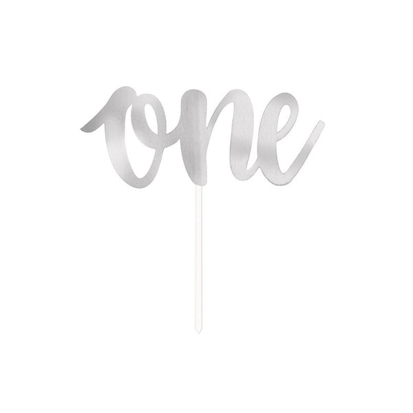 Silver One Script Cake Topper  Cake Toppers Unique - Hello Party