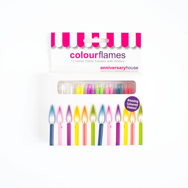Colour Flame Birthday Candles 12  Party Candles HelloPartyUK - Hello Party