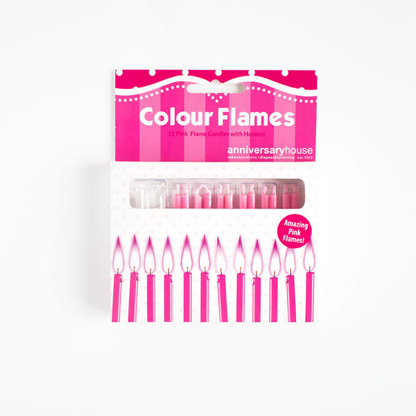 Pink Flame Birthday Candles 12