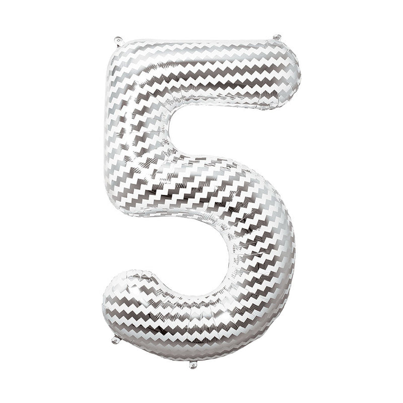 Silver and White Chevron Giant Number Balloons  Balloons Hello Party - All you need to make your party perfect!  - Hello Party
