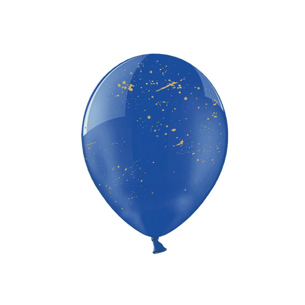 Gold Spatter Crystal Blue Balloons (pack of 3)  Printed Latex Balloons Party Deco - Hello Party