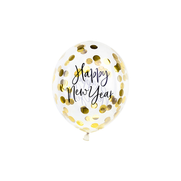 Happy New Year Party Gold Confetti Balloons (pack of 3)