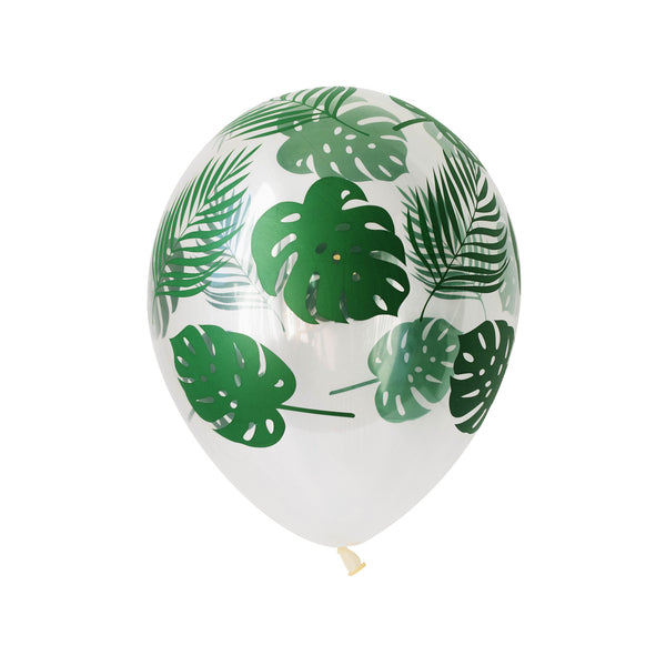 Tropical monstera and fern Leaf Print Clear Balloons (pack of 5)