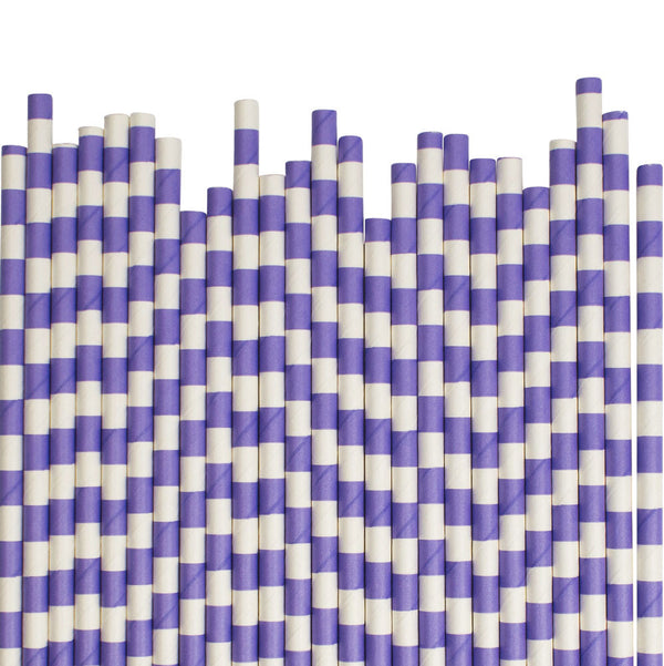 Purple Sailor Striped Paper Straws