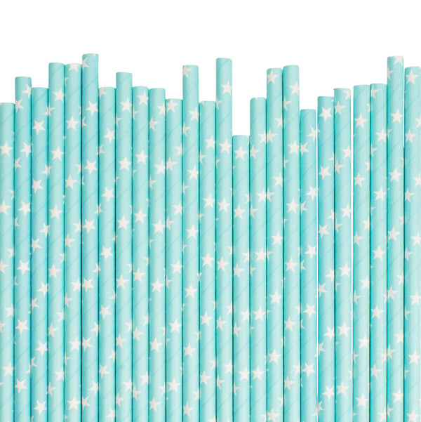 Light Blue With White Stars Paper Straws  Paper Straws Hello Party Essentials - Hello Party