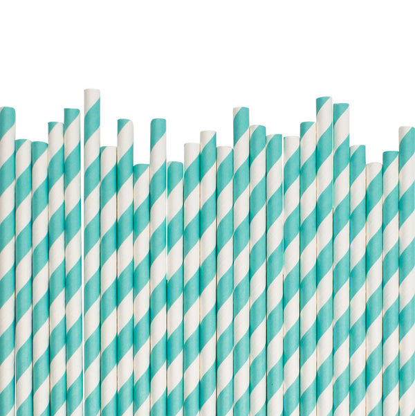 Aqua Diagonal Striped Paper Straws  Paper Straws Hello Party Essentials - Hello Party