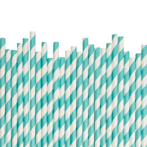 Aqua Diagonal Striped Paper Straws