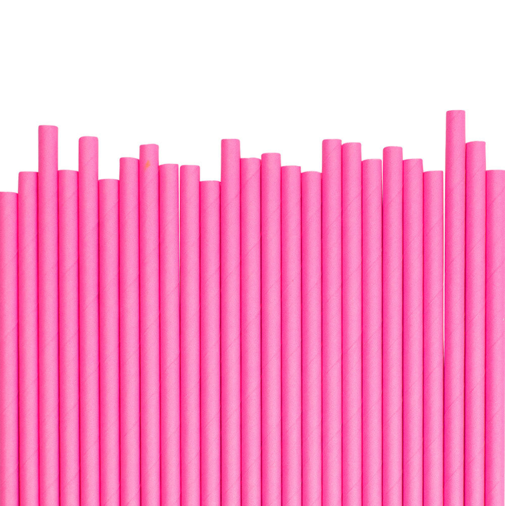 Neon Pink Paper Straws (25 pack)