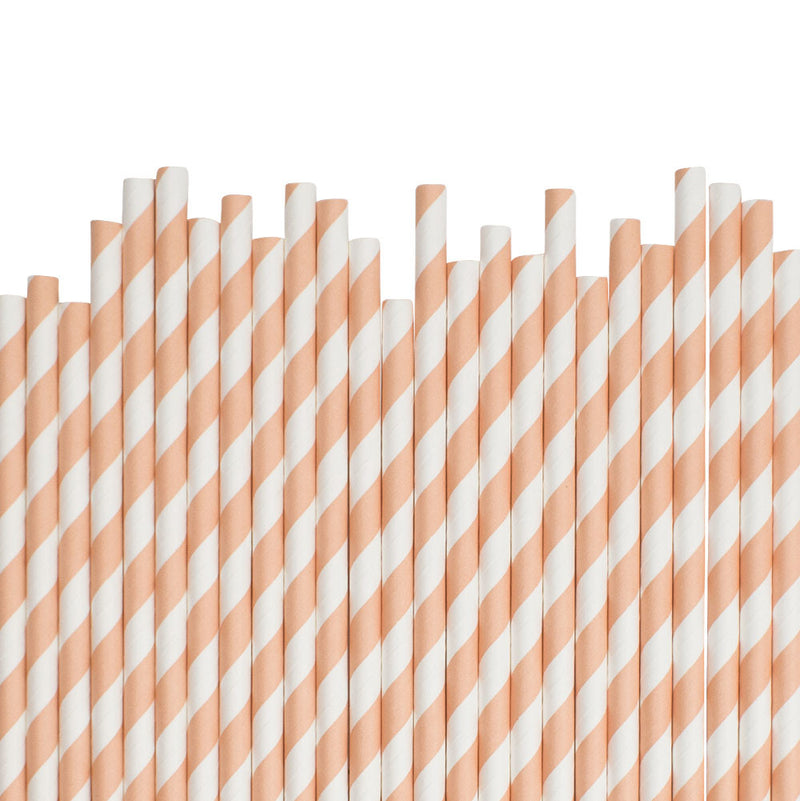 Peach Diagonal Striped Paper Straws  Paper Straws Hello Party Essentials - Hello Party