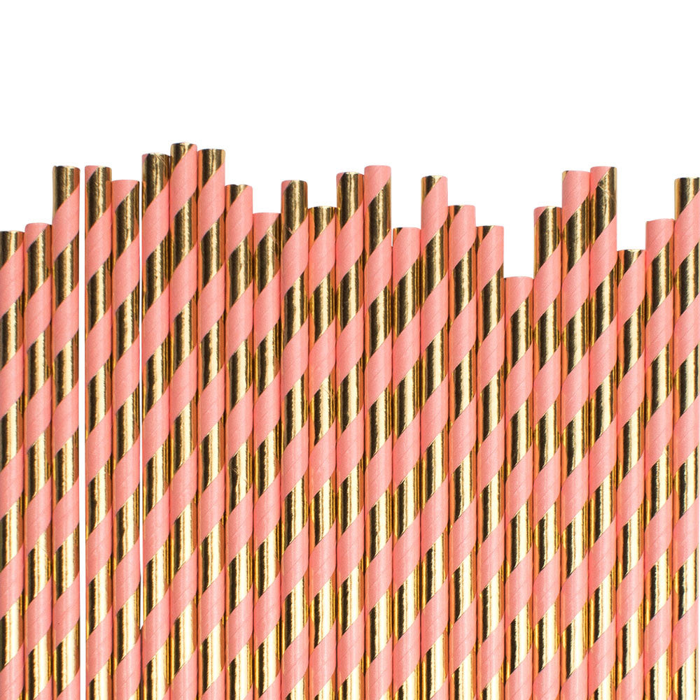 Coral And Gold Diagonal Striped Paper Straws  Paper Straws Hello Party Essentials - Hello Party